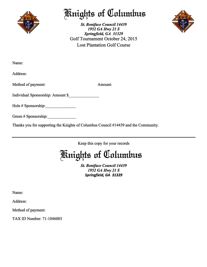 Third annual golf tournament knights of columbus golf sponsor receipt view here or download knight of columbus council golf sponsor receipt 2015pdf thecheapjerseys Image collections